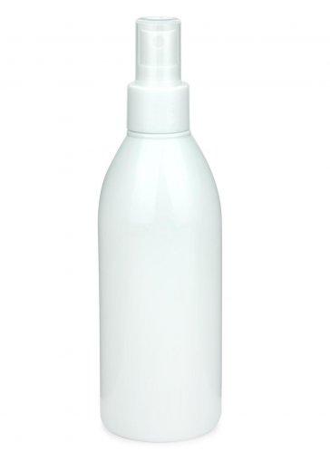 Recycling PET Flasche RIGOLETTO 250 ml weiß mit Spray Zerstäuber 24/410 Basic weiss glatt