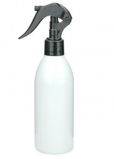 Recycling PET Flasche RIGOLETTO 250 ml weiß mit Mini Trigger Sprühpistole 24/410 schwarz