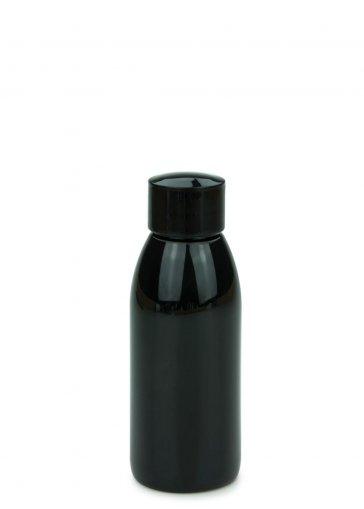 PET Flasche RIGOLETTO 100 ml schwarz mit Schraubverschluss 24/410 schwarz glänzend
