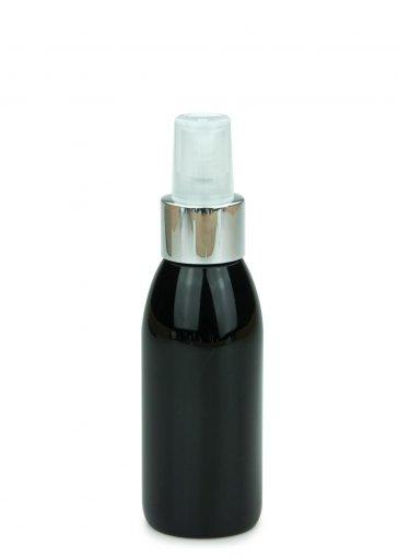 PET Flasche RIGOLETTO 100 ml schwarz mit Spray Zerstäuber Pumpe Luxury 24/410 natur/metall
