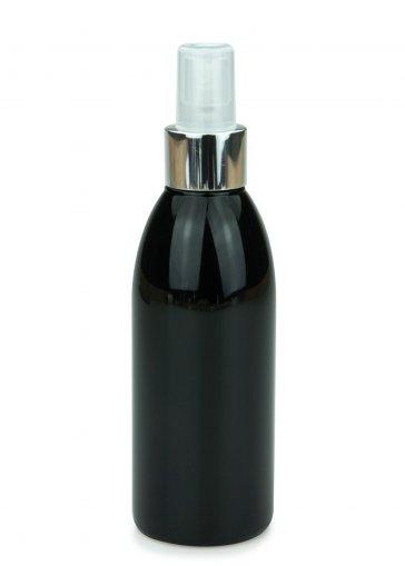 PET Flasche RIGOLETTO 200 ml schwarz mit Spray Zerstäuber Pumpe Luxury 24/410 natur/metall