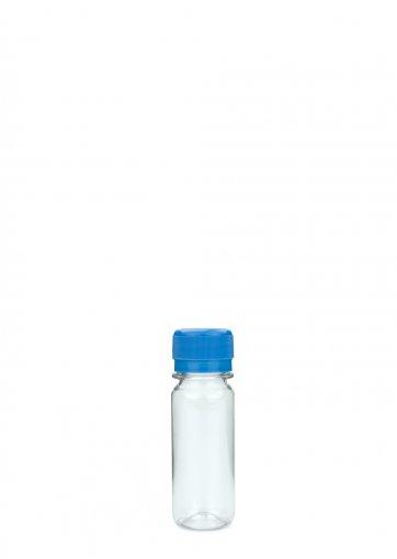 PET plastic bottle for beverage 60 ml clear incl. Screw cap PCO 28 blue for PET beverage