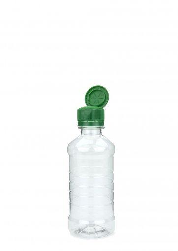 PET Flasche für Speiseöl klar 250 ml mit Klappverschluss mit Ausgießer grün