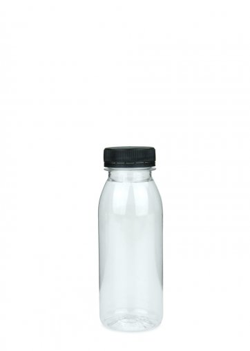 PET Smoothie Flasche klar 250 ml 38mm inkl. Schraubverschluss schwarz