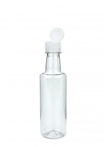 PET Flasche für Speiseöl klar 300 ml, Klappverschluss mit Ausgießer weiss