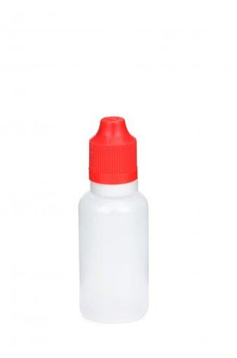 30 ml E-Liquid Flasche PE mit Spitze 3 mm und KISI Schraubverschuss mit Originalität rot