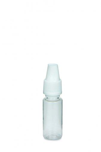 10 ml E-Liquid Flasche PET Automatic Line mit KISI Verschluss weiß und 2,3 mm Spitze eingesetzt