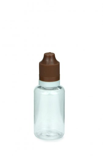 30 ml E-Liquid Flasche PET mit Spitze 3 mm und KISI Schraubverschuss mit Originalität braun