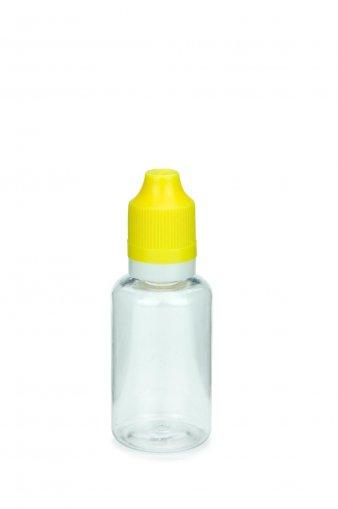 30 ml E-Liquid Flasche PET mit Spitze 3 mm und KISI Schraubverschuss mit Originalität gelb
