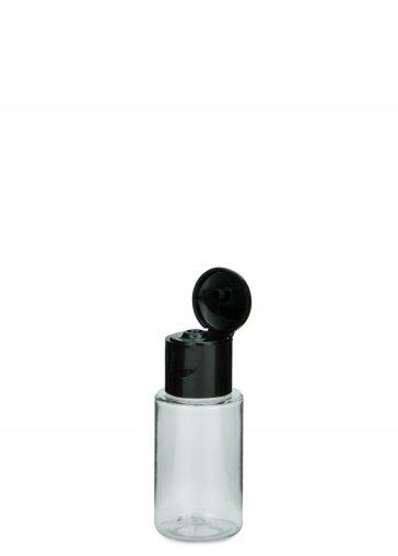 PET Flasche Leonora mini 20 ml Gewinde 18/415 mit Klapp Schraubverschluss 18/415 schwarz