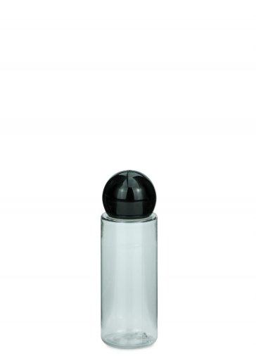 piccola bottiglia in PET Leonora 30 ml con tappo a vite sfera 18/415 nero
