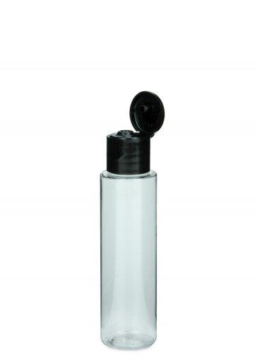 bottiglia piccola in PET Leonora 40 ml con tappo a vite 18/415 Flip top nero