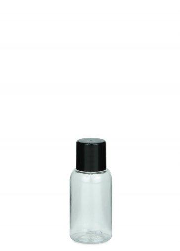 PET Flasche AIDA mini 25 ml Gewinde 18/415 mit Verschluss 18/415 schwarz