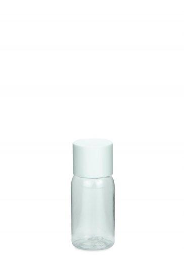 PET Flasche AIDA mini 25 ml Gewinde 18/415 mit Verschluss 18/415 doppelwandig kantig weiß