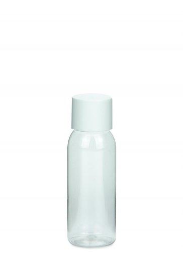 PET Flasche AIDA mini 50 ml Gewinde 18/415 mit Verschluss 18/415 doppelwandig kantig weiß