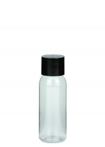 PET Flasche AIDA mini 50 ml Gewinde 18/415 mit Verschluss 18/415 doppelwandig kantig schwarz