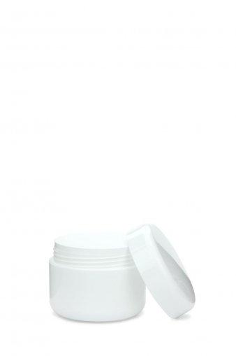 Cremetiegel Nouvelle 50 ml doppelwandig mit Deckel und Abdeckscheibe weiß