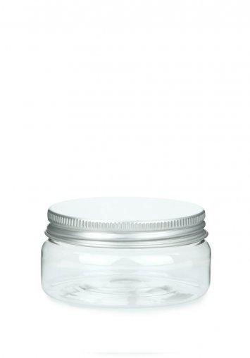 PET plastic jar Classic 100 ml 3.5 oz clear with aluminium screw lid with EPE insert