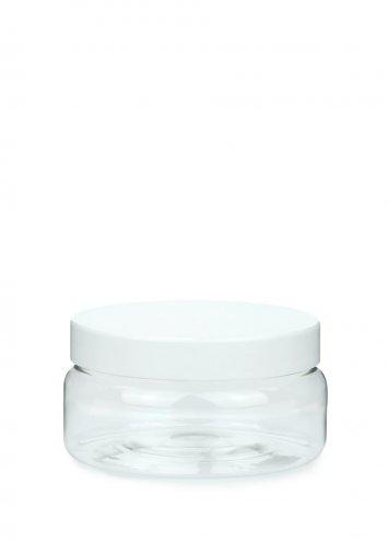 R-PET Tiegel Classic klar 100 ml mit Kunststoff Schraubdeckel weiß 70/400 mit EPE Dichteinlage