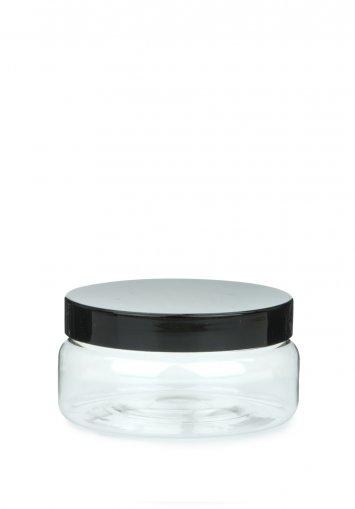 PET Tiegel Classic klar 100 ml mit Kunststoff Schraubdeckel schwarz 70 mm Karton