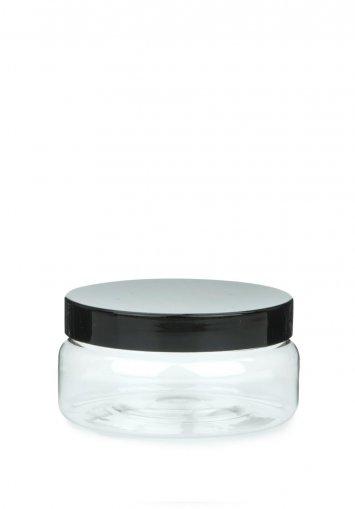 PET plastic jar Classic 100 ml 3.5 oz clear with plastic screw lid black Box
