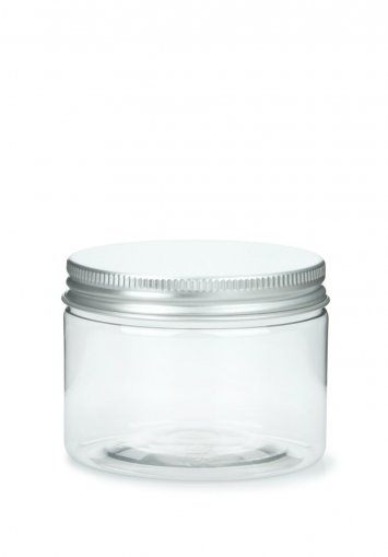 R-PET plastic jar Cylindrical 150 ml 5 oz clear with aluminium screw lid with EPE insert