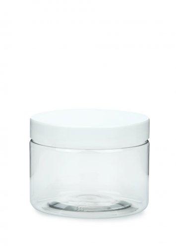 R-PET Tiegel Cylindrical klar 150 ml mit Kunststoff Schraubverschluss weiß 70 mm
