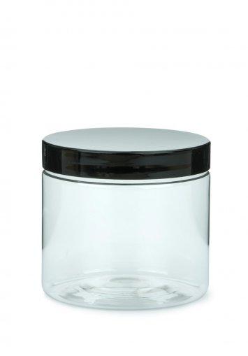 Contenitore per crema in R-PET cilindrico da 200 ml trasparente con tappo a vite in plastica nero 70 mm
