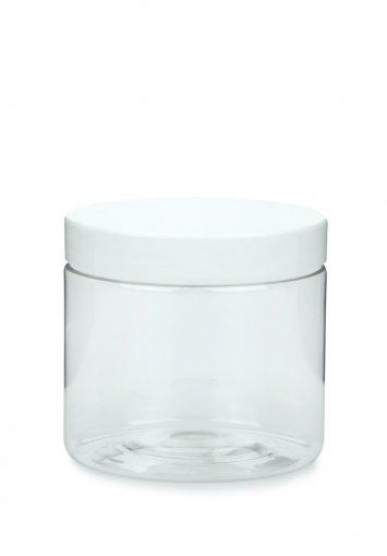 R-PET Tiegel Cylindrical klar 200 ml mit Kunststoff Schraubverschluss weiß 70 mm