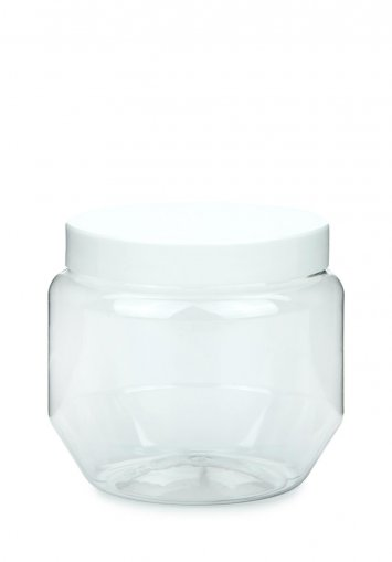 PET plastic jar Creme 250 ml 9 oz clear with plastic screw lid white