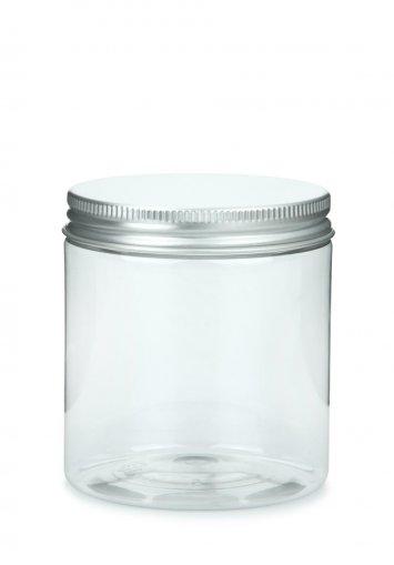 PET Tiegel Cylindrical klar 250 ml mit Alu Schraubdeckel silber mit EPE Einlage 70 mm