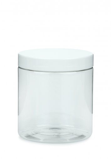 PET plastic jar Cylindrical 250 ml 9 oz clear with plastic screw lid white