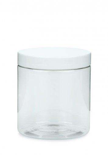 PET Tiegel Cylindrical klar 250 ml mit Kunststoff Schraubdeckel weiß 70 mm
