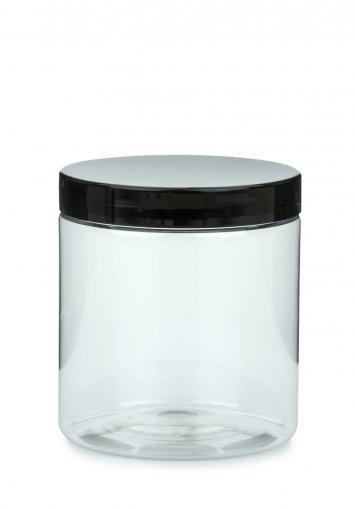 PET Tiegel Cylindrical klar 250 ml mit Kunststoff Schraubdeckel schwarz 70 mm