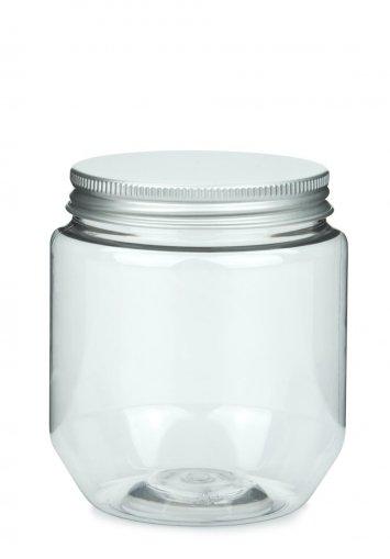 PET Tiegel Creme klar 370 ml mit Alu Schraubdeckel silber mit EPE Einlage 70 mm