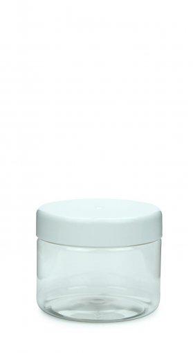 PET Schraubtiegel Cylindrical 250 ml Gewinde 82 RTS mit Schraubdeckel weiß glatt