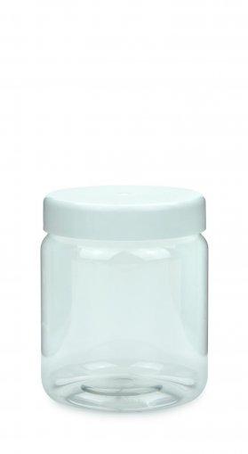 PET Schraubtiegel Cylindrical 500 ml Gewinde 82 RTS mit Schraubdeckel weiß glatt