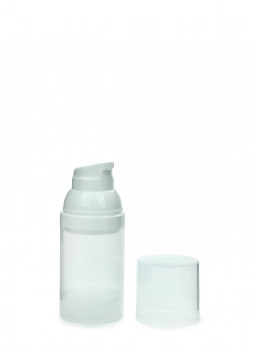 Airless Spender Mezzo 30 ml Behälter klar Kopf weiss Kappe klar