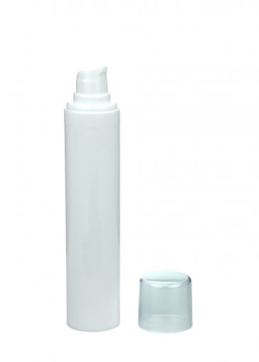 Airless Spender Micro 50 ml Behälter weiss Kopf weiss Kappe klar