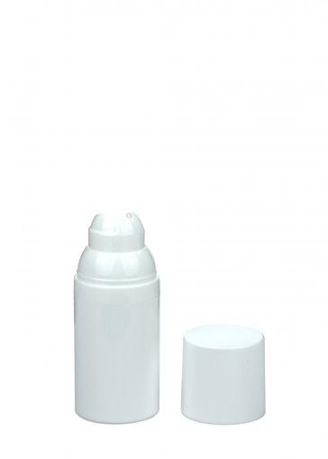 Airless Spender Mezzo 30 ml Behälter weiss Kopf weiss self closing Kappe weiss