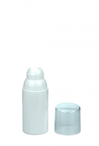 Airless Spender Mezzo 30 ml Behälter weiss Kopf weiss self closing Kappe klar