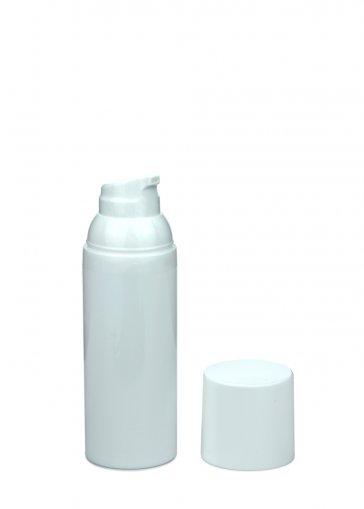 Airless Spender Mezzo 50 ml Recycling PP Behälter weiss Kopf weiss Kappe weiss