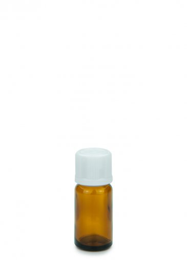 Glass bottle amber 10 ml  PFP18 with PFP Screw cap PFP28 child resistant white