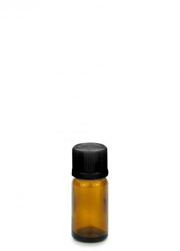 Glasflasche 10 ml braun Gewinde PFP18 mit Schraubverschluss KISI schwarz PFP 18
