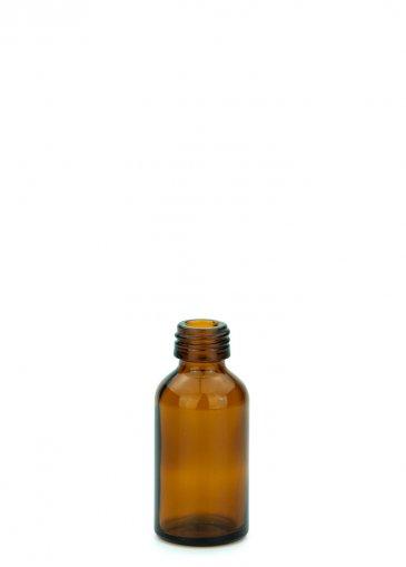 Glasflasche 20 ml braun Gewinde PFP18 ohne Verschluss
