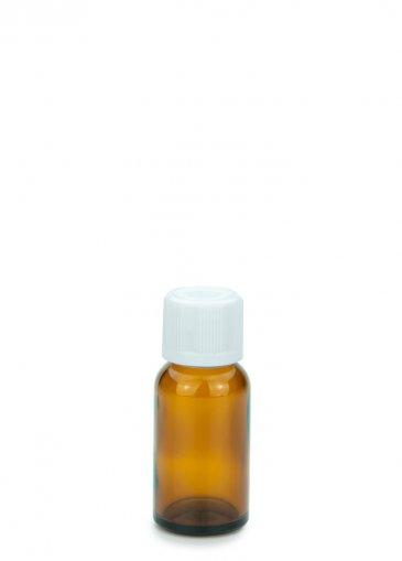 Glasflasche 20 ml braun Gewinde PFP18 mit Schraubverschluss KISI weiß PFP 18