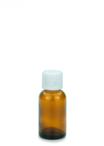 Glasflasche 30 ml braun Gewinde PFP18 mit Schraubverschluss KISI weiß PFP 18 und Tropfer
