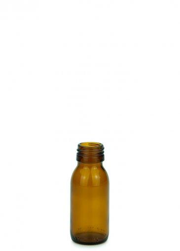 Glas Sirupflasche braun 60 ml Gewinde PP28 ohne Verschluss