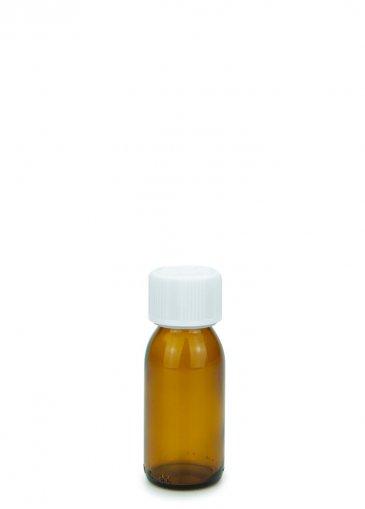 Glas Sirupflasche braun 60 ml Gewinde PP28 mit Schraubverschluss 28 ROPP Originalität KISI weiss
