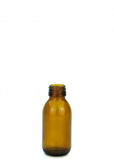 Glas Sirupflasche braun 100 ml Gewinde PP28 ohne Verschluss